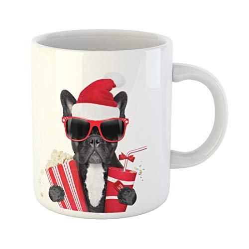 Semtomn Funny Coffee Mug French Bulldog Dog Ready to Watch Movie at the 11 Oz Ceramic Coffee Mugs Tea Cup Best Gift Or Souvenir ()