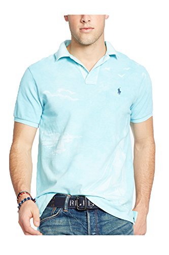 Polo Ralph Lauren Men's Custom-Fit Printed Polo (Large, French Navy)