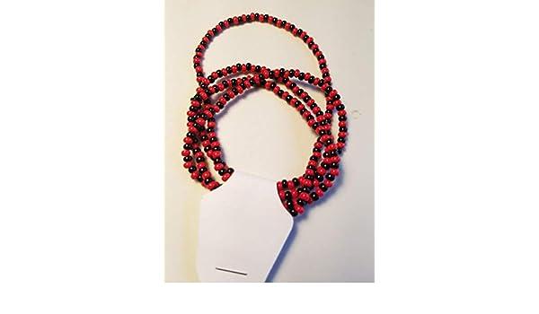 Elegua Pulsera santería de cuentas roja y negra (1 hilo ...