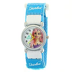 Fashion Barbie Girls Cartoon Quartz Watches with Blue Nylon Velcro Band and White Round Dial