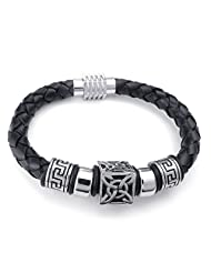 "TEMEGO Jewelry Mens Genuine Leather Vintage Great Wall Celtic Knot Charm Bracelet Stainless Steel Clasp, Black Silver - 8"",8.5"",9"""