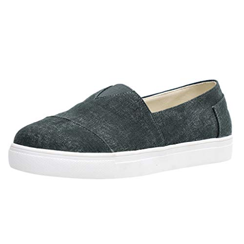 Womens Canvas Slip-On Shoes,Summer Comfortable Sports Running Walking Single Sneaker Black
