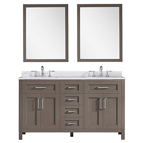 Ove Decors Maya 60 in. Saddle Borwn Double Vanity Sink with Cultured Stone Top and Mirrors, 60 inches, Brown