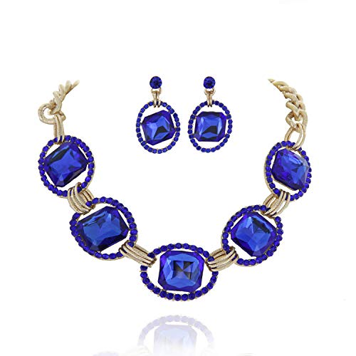 Cushion Bead Shaped (SP Sophia Collection Austrian Crystal Women's Chunky Chain Necklace and Earrings Jewelry Set in Gold Royal Blue)