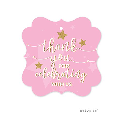 - Andaz Press Twinkle Twinkle Little Star Pink Baby Shower Collection, Fancy Frame Gift Tags, Thank You for Celebrating with US, 24-Pack