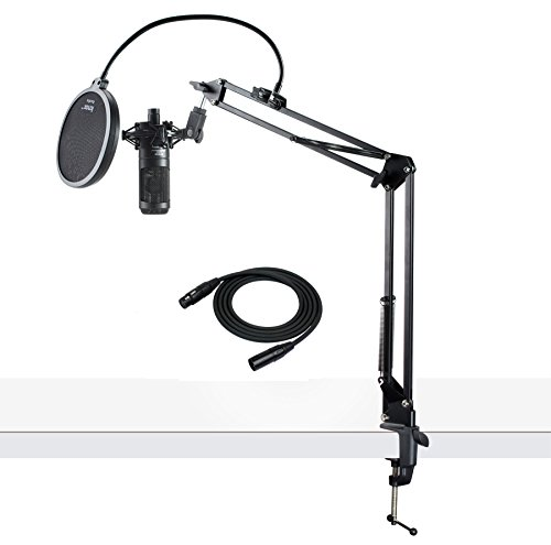 (Audio-Technica AT2035 Cardioid Studio Condenser Microphone with XLR Cable Knox Studio Stand and Pop Filter)