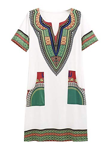 - SUKIYAKI Women's Bohemian Dashiki African Vintage Print Club Midi Bodycon V-Neck Dress (S, WhiteGreen)