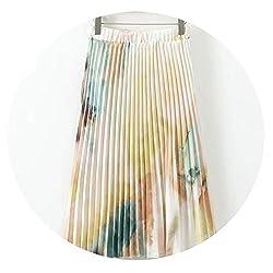 Shine Island European Style Summer Skirts Womens Tie Dye Printed Pleated Skirt Lady Elastic High Waist Midi Skirt M