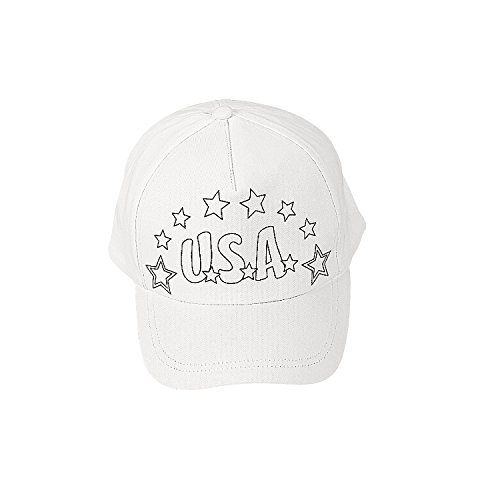 - Fun Express Color Your Own Patriotic Baseball Hats for Fourth of July - Craft Kits - CYO - General - Fabric - Fourth of July - 12 Pieces