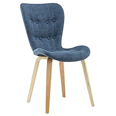 Porthos Home Sioux Dining Chair (Set of 2), Blue - Curved Seat adds modern style Solid wood Construction Set of 2, fast & Simple assembly - kitchen-dining-room-furniture, kitchen-dining-room, kitchen-dining-room-chairs - 41AjXwd95JL. SS400  -