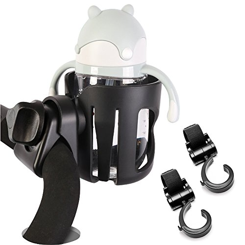 Drink Holder, XHAIZ Stroller Cup Holder and 2 Hooks, 360 Degrees Rotation Cup Holder for Wheelchair, Bicycle, Bike by XHAIZ