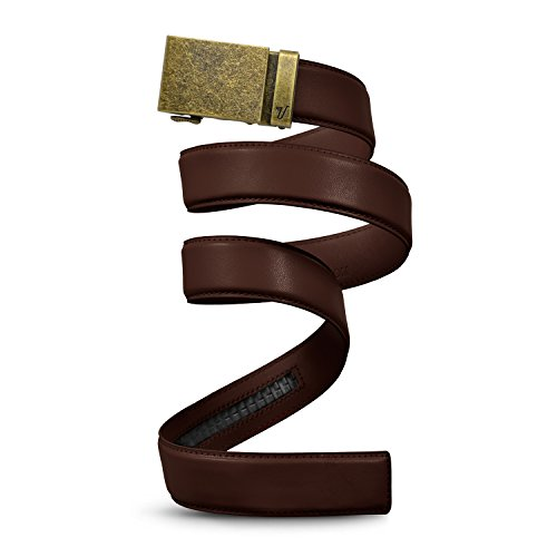 Mission Belt Men's Ratchet Belt - Bronze - Bronze Buckle/Chocolate Brown Leather Strap, Large (36-38) for $<!--$41.95-->