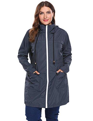 Bifast Women Plus Size Lightweight Raincoat Cycling Hiking Portable Anorak Waterproof Coat