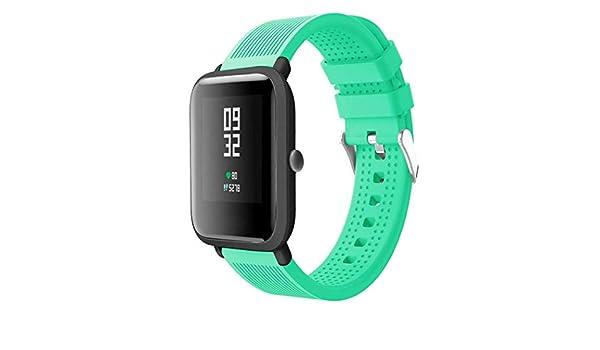 ... amazfit bip,☀️Modaworld Accesorios de Reloj Deportivo de Silicona Correa de Reloj Pulsera para Huami Amazfit Bip Watch Reloj Inteligente (Menta Verde, ...