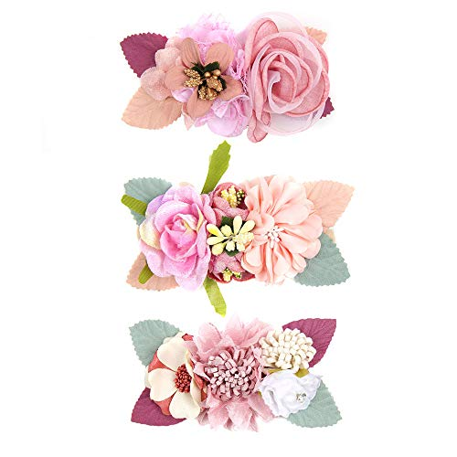 Baby Floral Headband Nylon Turban Elastic Head Wraps For Newborn Infant Toddler Girls Pack Of 3 (3pcs large floral headband -