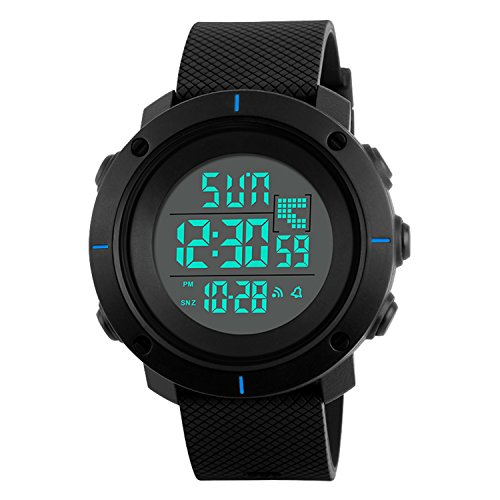 Price comparison product image Men's Watch Digital Sport Watches Silicone Military Waterproof LED Casual Outdoor Black Boys Watch