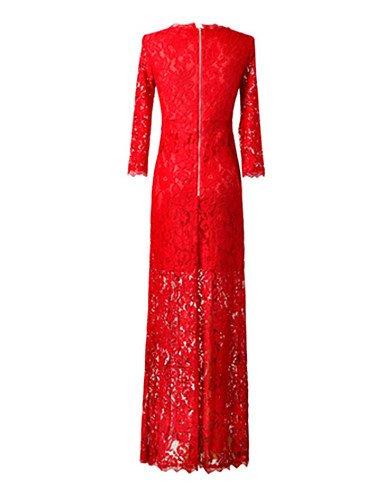 PU&PU Robe Aux femmes Gaine / Lace Sexy / Street Chic,Couleur Pleine Col Arrondi Maxi Autres , red-l , red-l