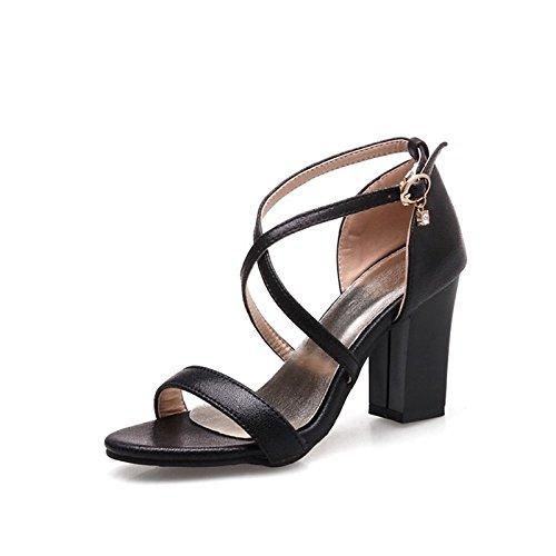 ZHZNVX Zapatos de mujer Materiales personalizados Glitter Verano Novedad comodidad sandalias Chunky talón Talón abierto para la boda Office,Carrera Gold Negro Pink