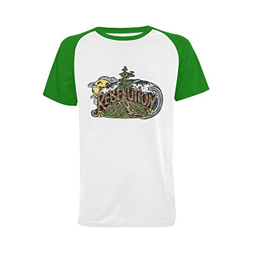 Wihuae Men's Rebelution Band Short Sleeve Raglan T-shirt (USA Size) XXL (Rebelution Band)