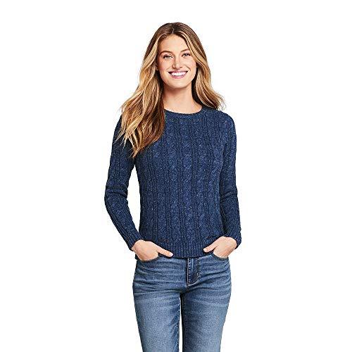 (Lands' End Women's Petite Drifter Cotton Cable Knit Sweater Crewneck, S, Navy Snow Heather)