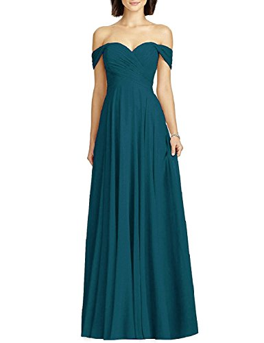 Women's Formal Off Shoulder Chiffon Wedding Party Bridesmaid Dress Evening Maxi Teal Size -