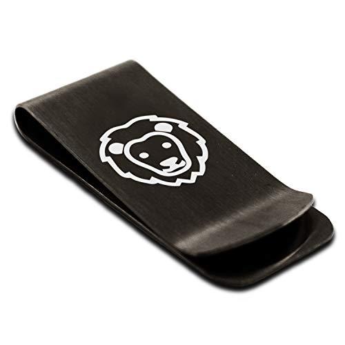 Matte Black Stainless Steel Lion Icon Money Clip Credit Card Holder
