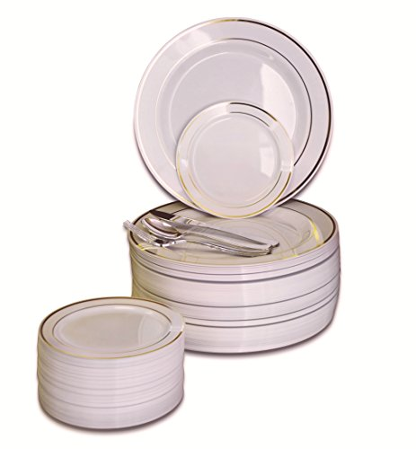 """ OCCASIONS"" 300 PCS / 60 GUEST Wedding Disposable Plastic Plate and Silverware Combo Set, (Ivory/Gold Rim plates, silver silverware)"