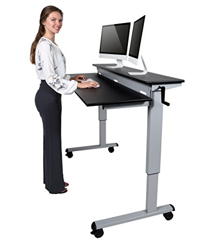 Crank Adjustable Sit to Stand Up Desk with Heavy Duty Steel Frame (60'', Silver Frame/Black Top) by Stand Up Desk Store