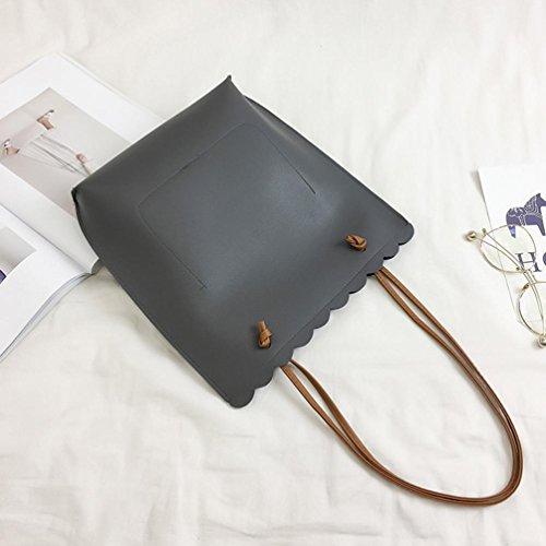 BZLine® Frauen Fashion Print Letter Casual Handtasche Umhängetasche Tote tasche (Schwarz 3) Grau 2