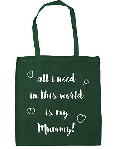 HippoWarehouse All I Need en este mundo es mi Mummy bolsa de la compra bolsa de playa 42cm x38cm, 10litros verde oscuro