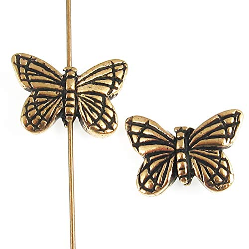 - Gold Butterfly Beads, TierraCast Pewter Insect, Animal Beads, 2/Pkg