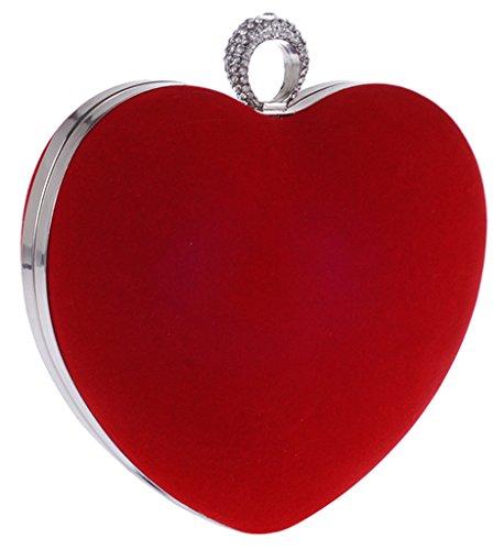 ERGEOB Damen Erweiterte herzförmige Diamant-Kupplung Abendtaschen Kristall golden 01 rot