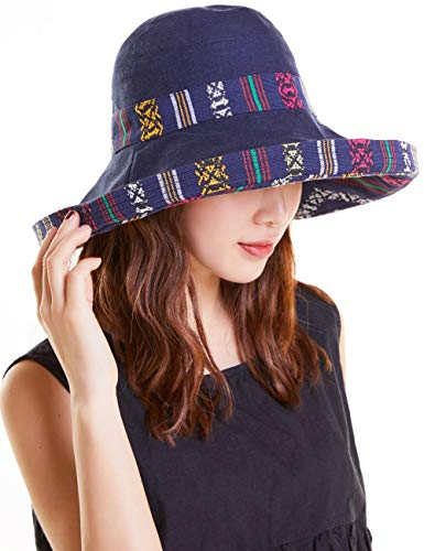 Maylisacc Packable Sun Hat Women with Embroidery Summer Garden Hat Outdoors Ethnic-Navy