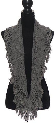 Knit Scarf with Tassels Fringe Cute Crochet Winter Scarfs For Women Infinity Scarves - Grey