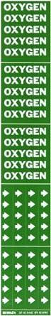 "Brady 7210-3C 2-1/4"" Height, 2-3/4"" Width, B-946 High Performance Vinyl, White On Green Color Self-Sticking Vinyl Pipe Marker, Legend ""Oxygen"""