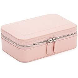 WOLF 392215 Sophia Zip Case Jewelry Box, Rose Quartz