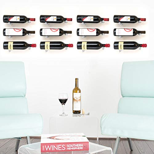 VintageView Vino Series-Vino Pins 12 Bottle Wall Mounted Wine Bottle Rack (Anodized Black) Stylish Modern Wine Storage with Label Forward Design ()