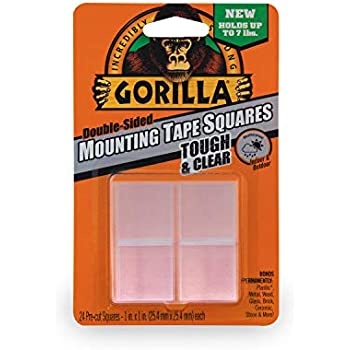 Gorilla Tough & Clear Double Sided Mounting Tape Squares, 24 1