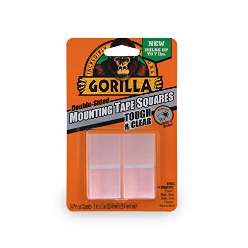 Gorilla Tough & Clear Double Sided Mounting Tape Squares, 1 Inch Pre-Cut, Clear, (24 squares)