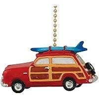 Retro Woody Red Surf Wagon Beach Surfing Ceiling Fan Pull