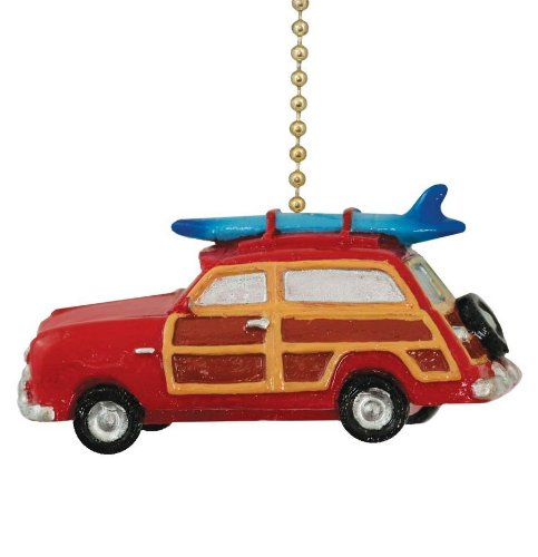 Retro ''Woody'' Red Surf Wagon Beach Surfing Ceiling Fan Pull by Clementine Designs
