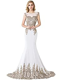 Womens Embroidery Lace Long Mermaid Formal Evening Prom Dresses