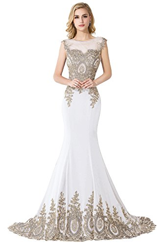 MisShow Embroidery Lace Long Mermaid Formal Evening Prom Dresses,Ivory,Size 2