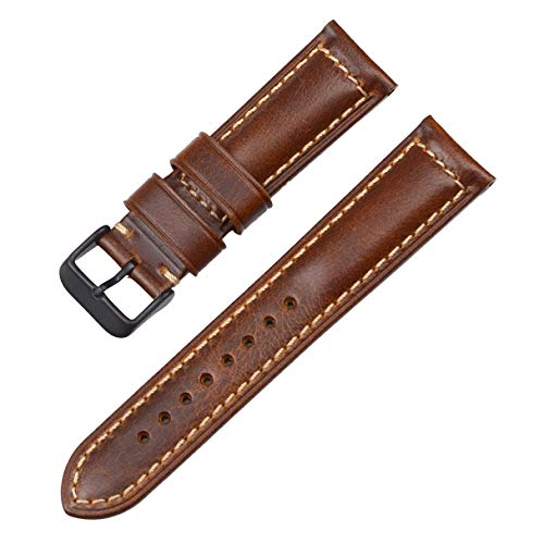 22mm Leather Watch Straps,EACHE Oil Waxed Calfskin Vintage Watch Bands for Men,Light Brown-Black Hardware