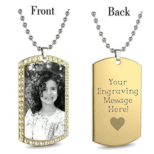 Interway Trading Personalized Custom Photo High Polished Engraved Dog Tag Necklace Pendant and 24 inch Stainless Steel Chain, Velvet Giftpouch and - Womens Necklace Rectangular