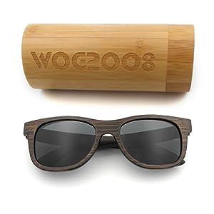 Polarized Bamboo Sunglasses Mens Womens Lightweight Wood Wayfarer Shades that Floats