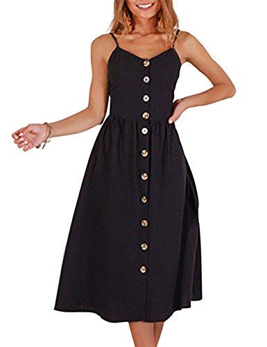 Exlura Women's Dresses Summer Floral Sundress Swing Beach Dress with Pockets Pure Black