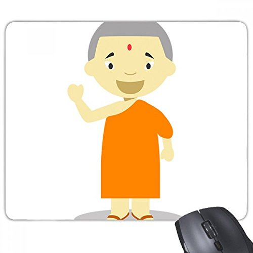 Orange Gown Monk Nepal Cartoon Rectangle Non-Slip Rubber Mousepad Game Mouse Pad Gift