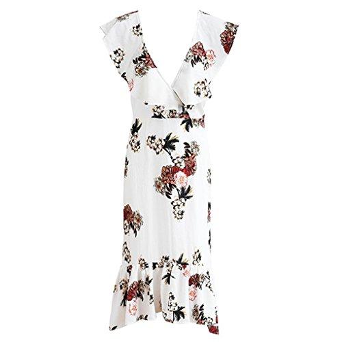 Vestido largo de verano con cuello en V de volantes de impresi¨®n floral Vestido largo con espalda de vestido de mujeres de playa Vestido Blanco