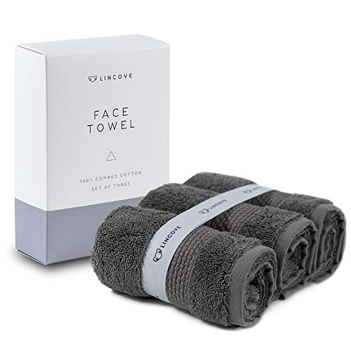 Lincove 100% Turkish Cotton Luxury Face Towels for Bathroom - Hotel & Spa Luxury Face Towels by 600 GSM, Highly Absorbent & Eco Friendly - 12x19.5 Made in Turkey (Dark Grey)